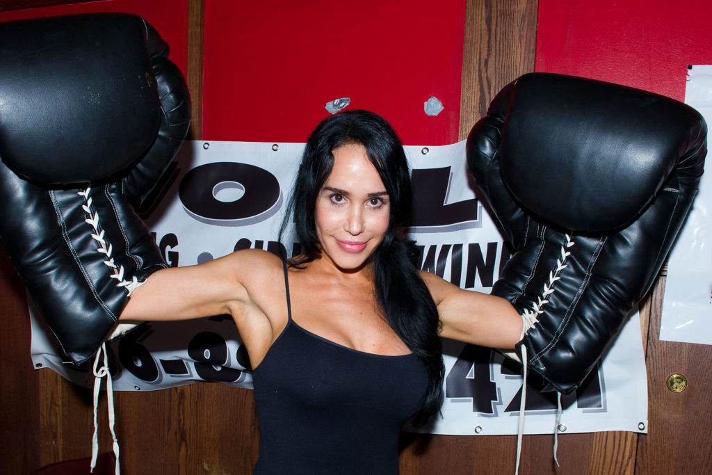 KING OF PRUSSIA, PA - JUNE 22: Nadya 'Octomom' Suleman poses at the Celebrity Pillow Fight Press Conference and Weigh In at the Fox And Hound Pub and Grille on June 22, 2012 in King of Prussia, Pennsylvania. (Photo by Jeff Fusco/Getty Images)